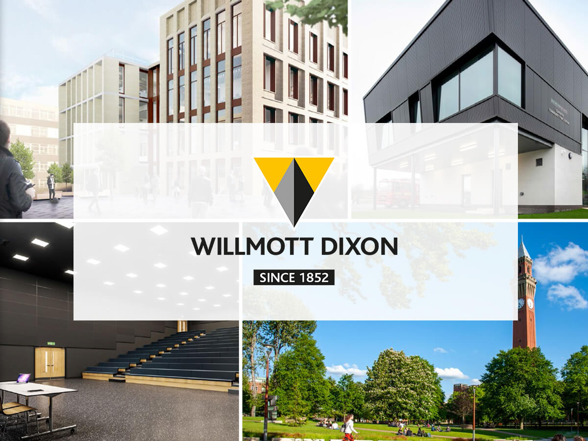 Willmott Dixon various project images with logo overlayed
