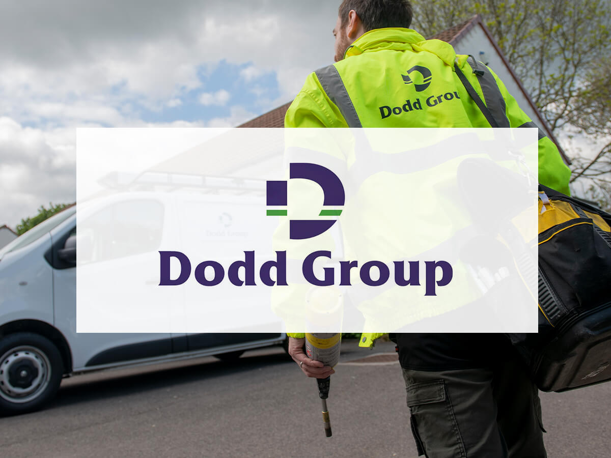 Dodd Group Logo on background image on high vis