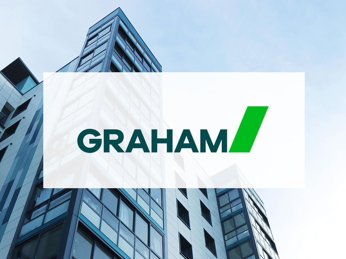 Graham logo on background with buildings and sky